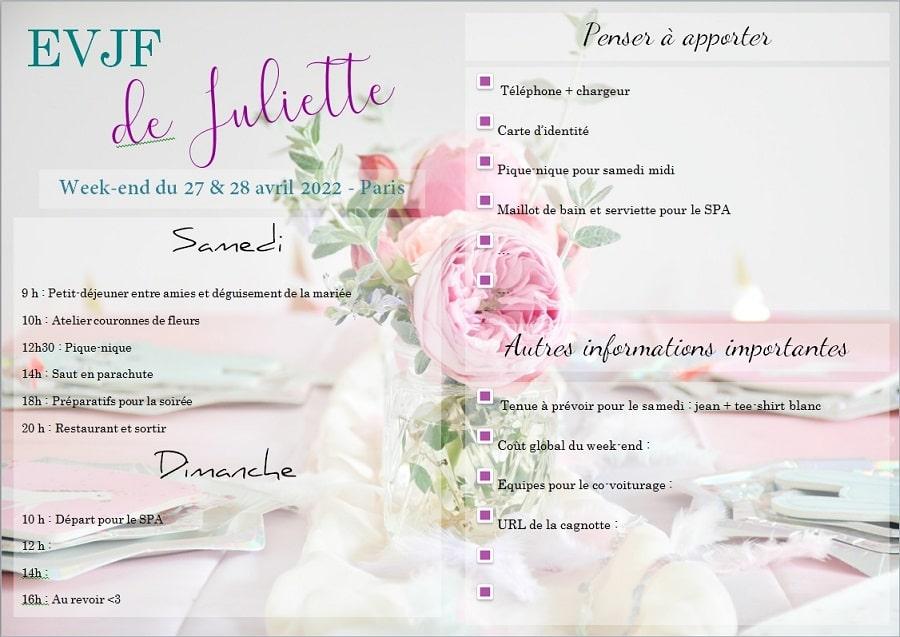 diy invitation et programme pour evjf