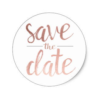 faux rose gold foil save the date classic round sticker r8a9c0e157fed4021921fbdecb1a4d2b5 v9waf 8byvr 324