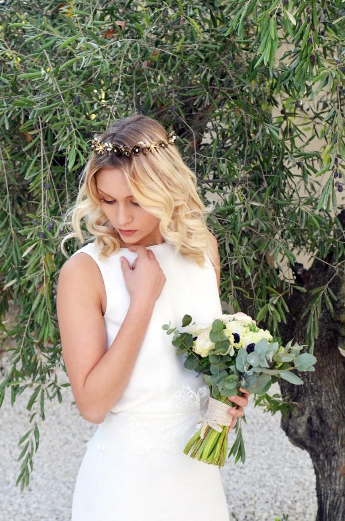 robe de mariée et accessoires de tête