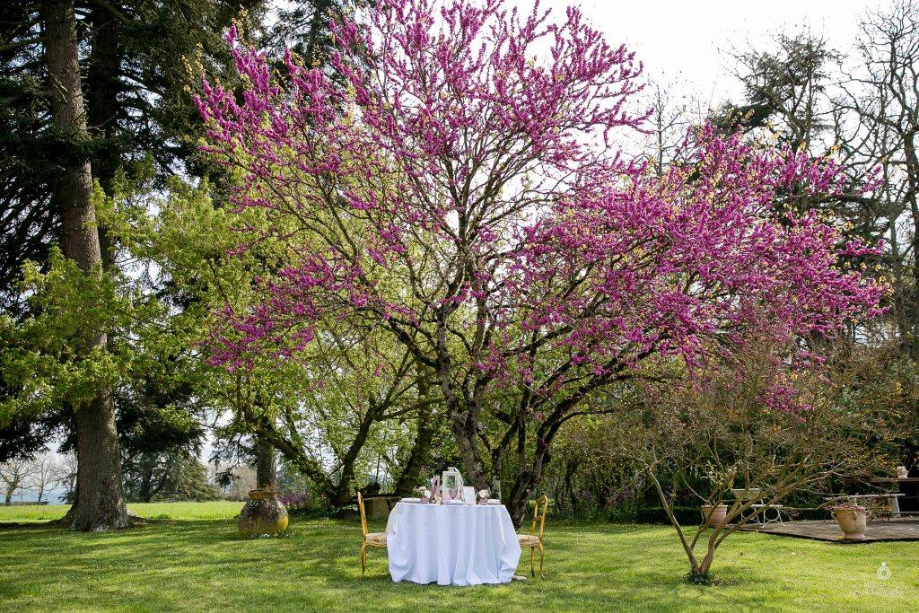 Mariage romantique chic violet rose