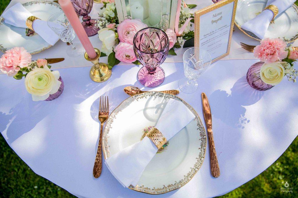 Table de mariage chic vaisselle