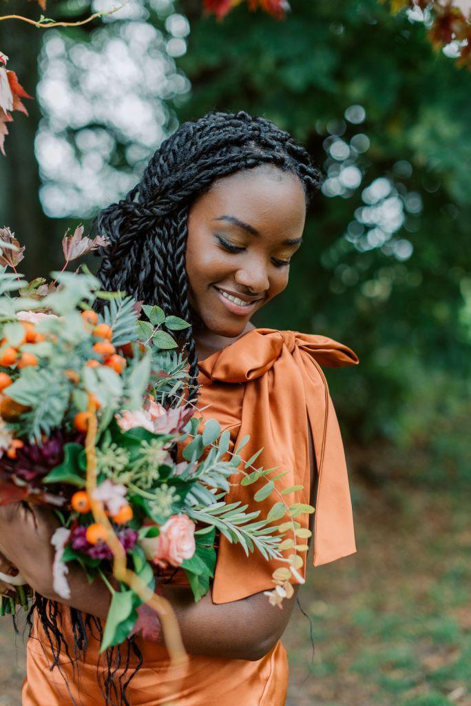 robe demoiselle d'honneur orange automne
