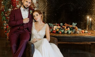 Mariage automne costume pourpre