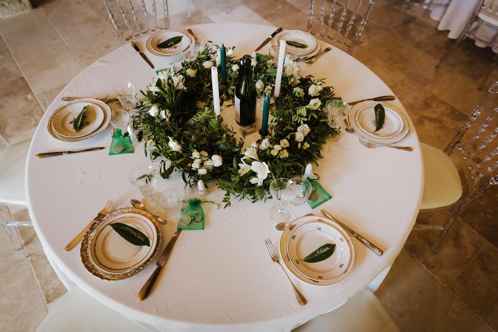 Décoration de table de mariage végétal