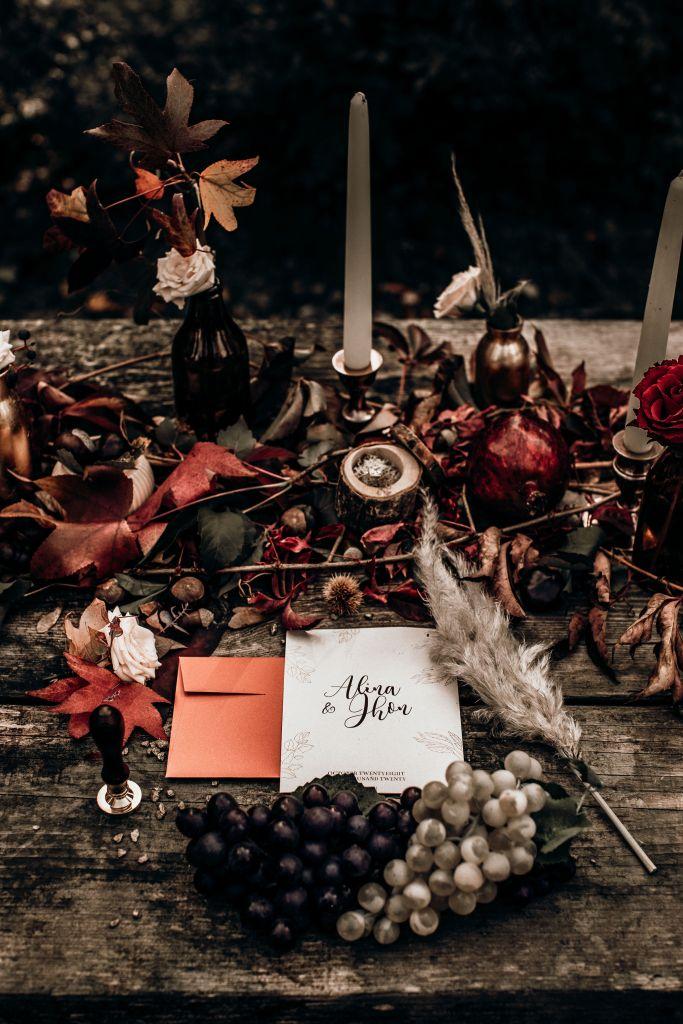 Un mariage de rêve en automne faire part