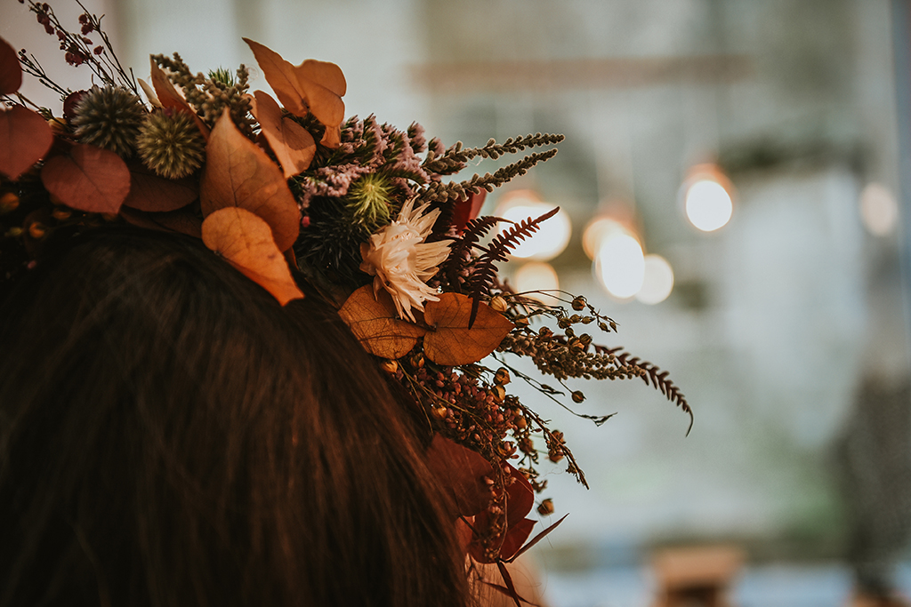 Couronne de fleurs séchées mariage