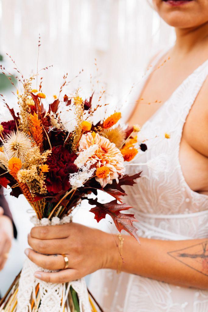 Bouquet de mariage robe de mariée gipsy folk boheme