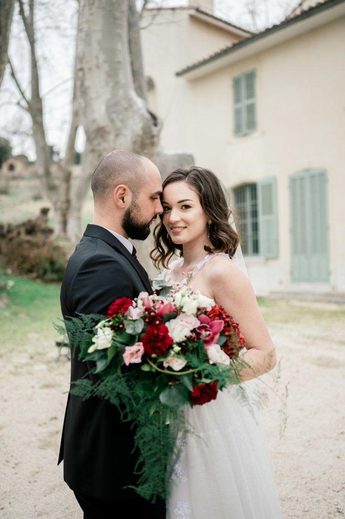 bouquet de mariage fleurs rouges