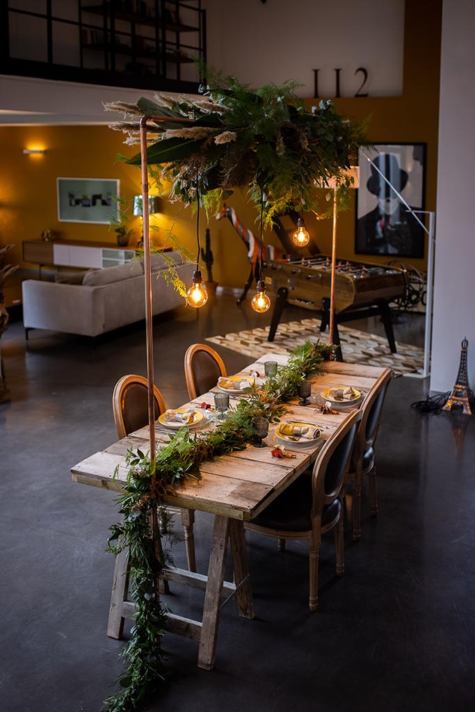Décoration de table mariage végétale, urbain et jaune