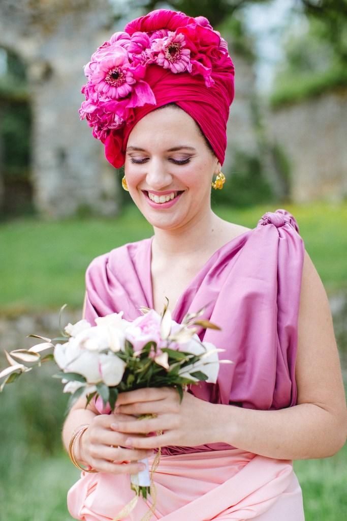 demoiselle d'honneur tenue africaine rose