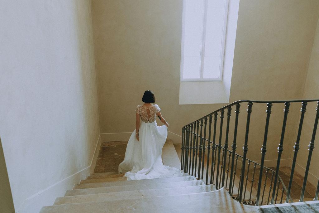 Robe de mariée à dentelle rock