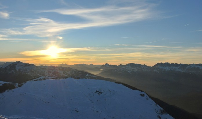 Hiver à Chamonix - Mont Blanc : coucher de soleil au Brévent
