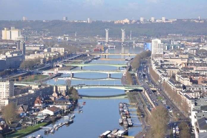 La Seine à Rouen depuis la colline Sainte Catherine