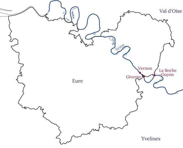 Carte Giverny et alentours