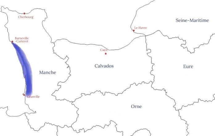 La Marinière en voyage - carte de la Côte des Havres