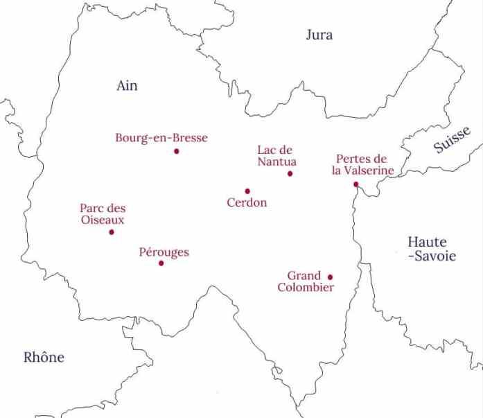 Carte de l'Ain et ses incontournables