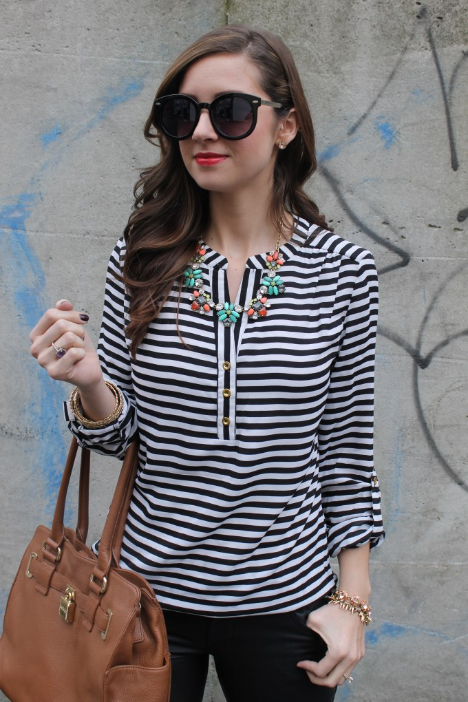 La Mariposa: Stripes, leather & pokes of spring colors