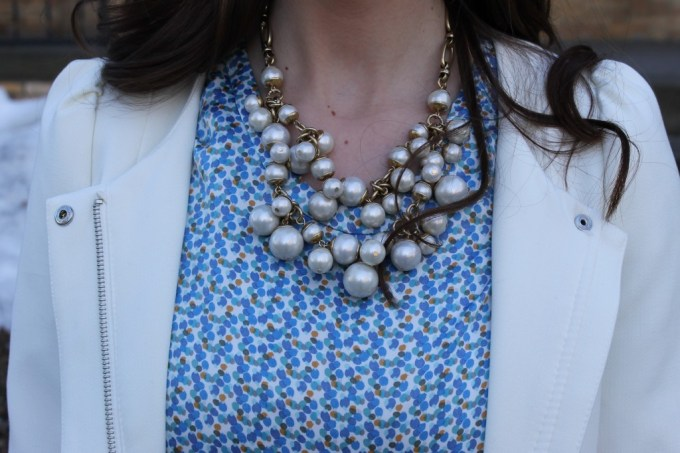 La Mariposa: White Spring Coat with Baby Blue Blouse & Captoe Flats