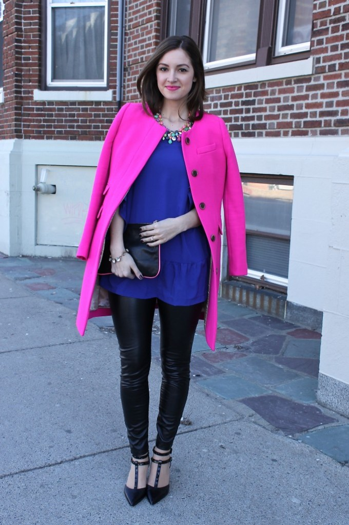 Pink Coat & Violet blouse with Leather
