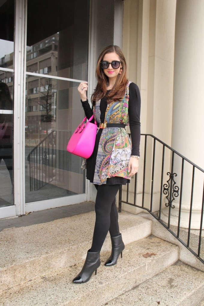 Scarf-Print Vest over Black with Hot pink Bag