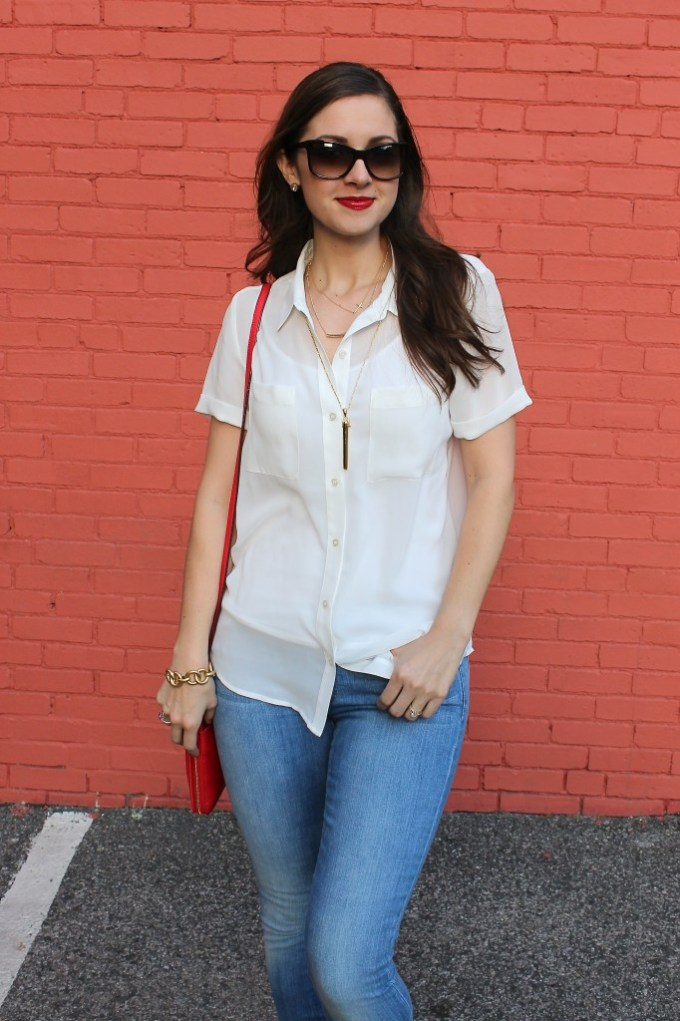 White Blouse, Gold Shoes, Red Bag