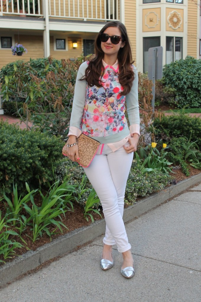 Pastel Florals with White jeans and sIlver loafers