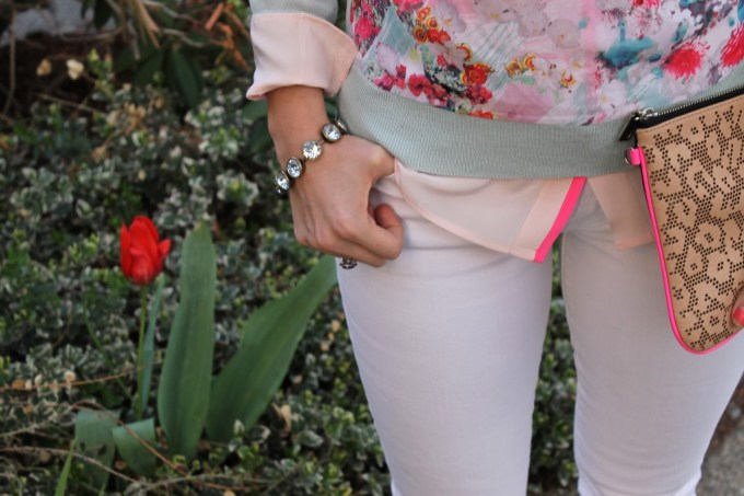 Pastel Florals with White jeans and laser cut clutch