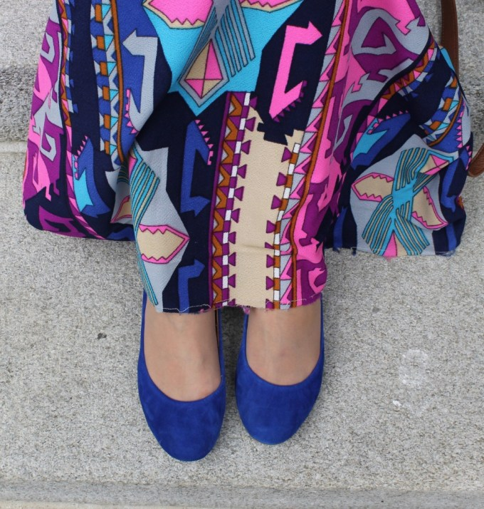 geometric maxi skirt in pink & blue
