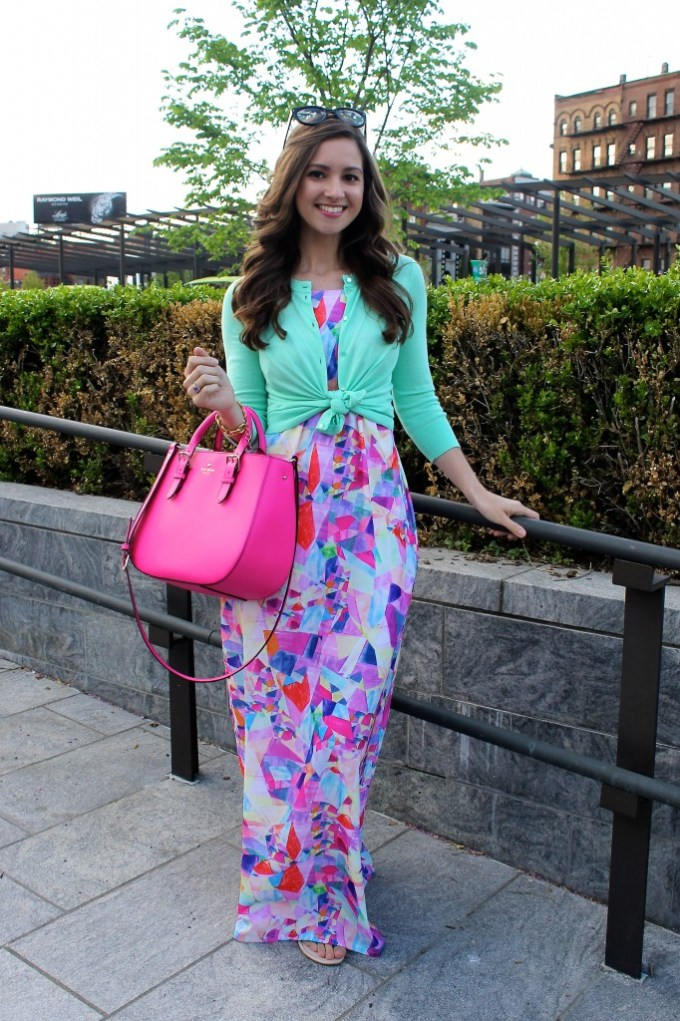 Nasty Gal Watercolor Maxi; Neon Fuchsia Kate Spade Purse; Mint JCrew Cardigan
