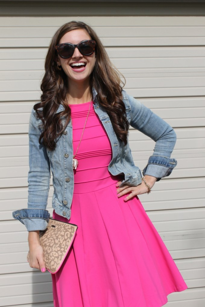 Pink sun dress with denim jacket