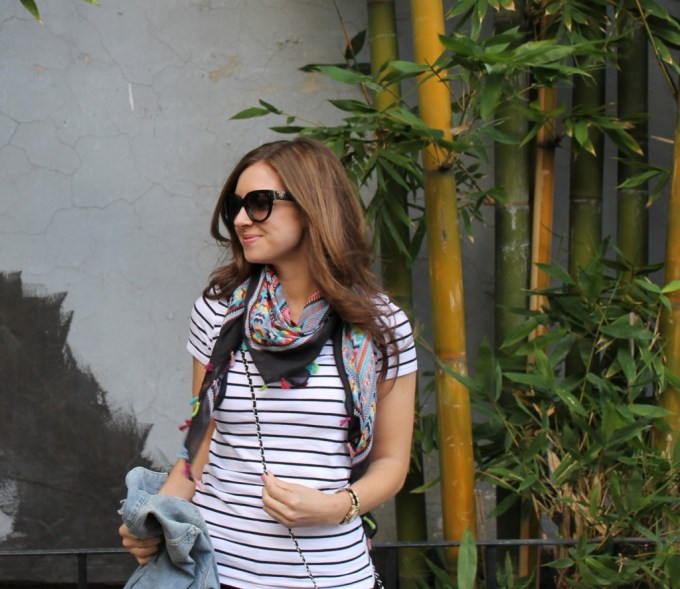 Stripes & a colorful tassel scarf