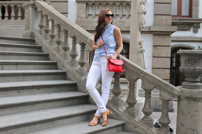JCrew Popover, 7FAM White Denim, Stella & Dot Red Crossbody & Sam Edelman Minimalist Block Sandals