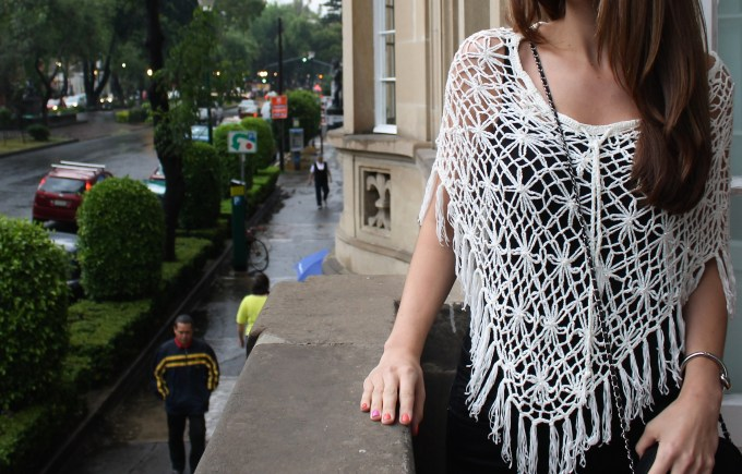 White open knit shawl over all black