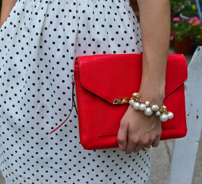 JCrew Polkadot Dress & Poppy Stella & Dot Purse