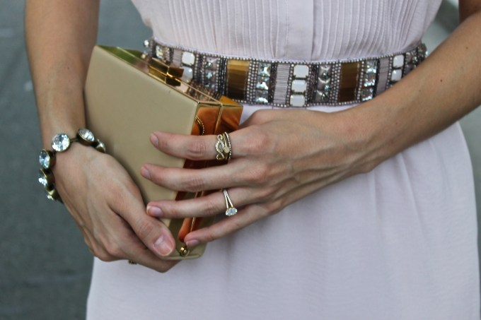 Anthropologie Beaded Belt and Marshalls Metallic Box Clutch