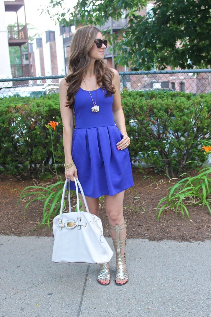 Aeropostale Blue fit n Flare Day Dress with Steve Madden Gold Gladiators and White MK Purse