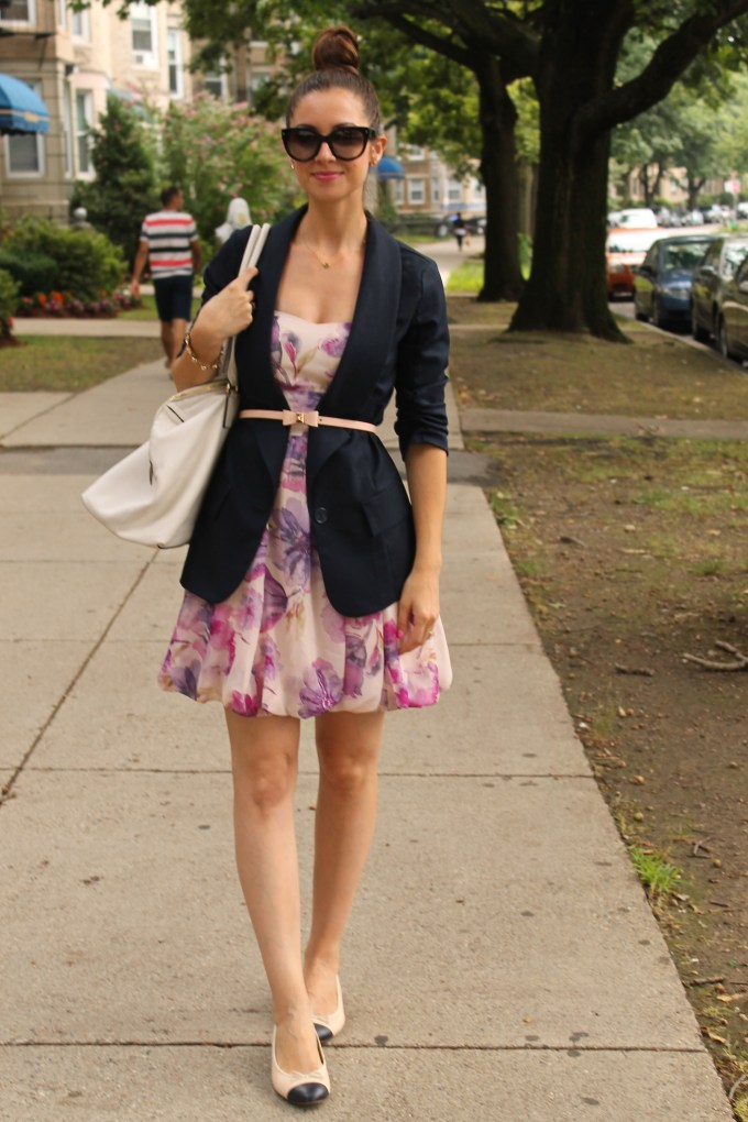 Navy Blue Blazer with Purple florals and Captoe Flats