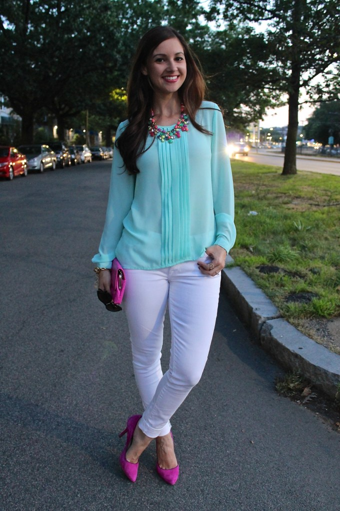 Aqua Blouse, White Jeans, Pink Accessories