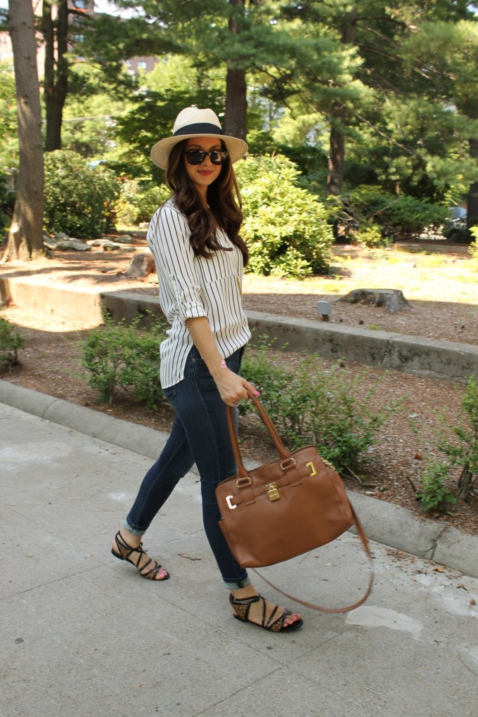 H&M fedora, striped blouse & zara leopard strappy sandals
