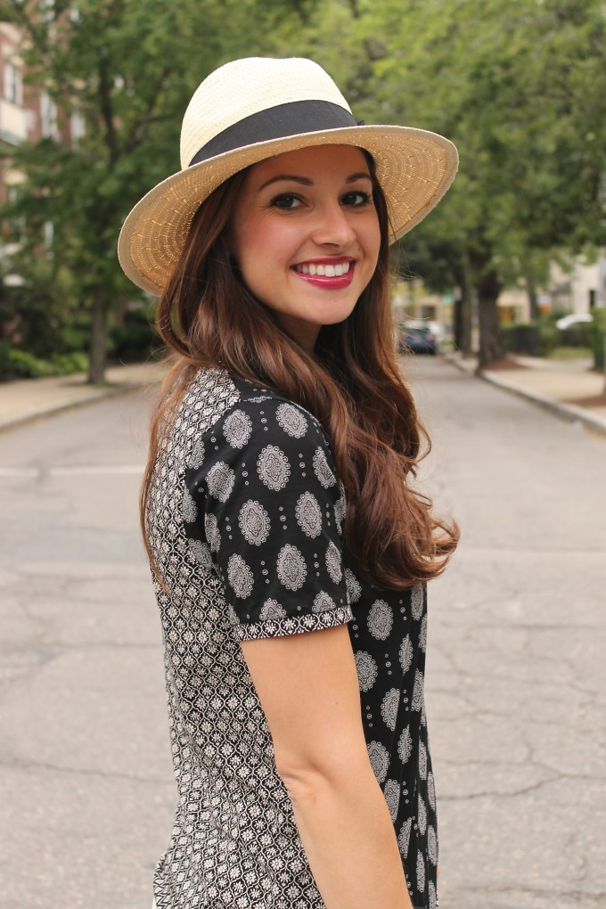 Black & White patterned top and panama hat
