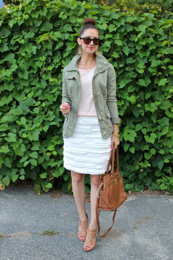 H&M Green Military Jacket, Peach Blouse and White H&M Fringe Skirt