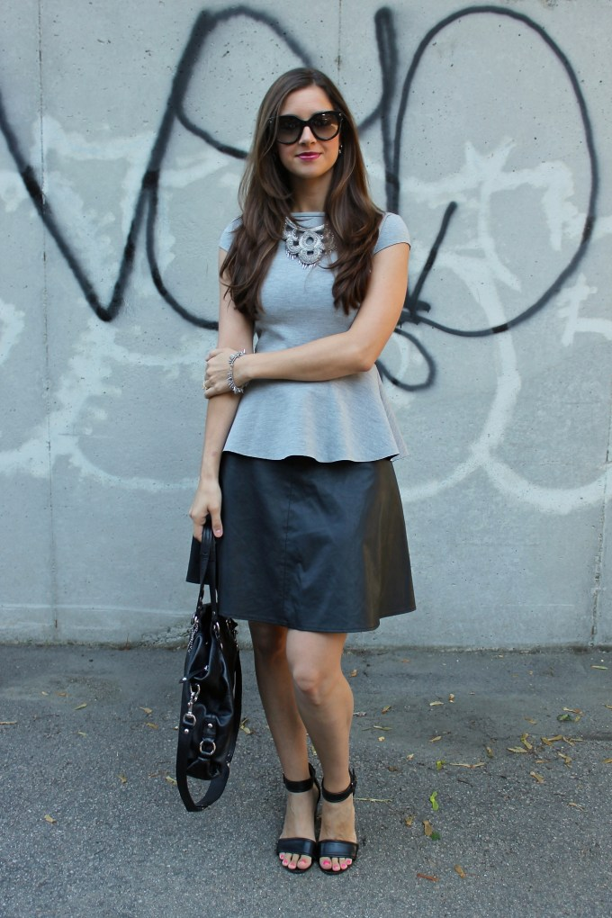 H&M Grey Neoprene Peplum & Faux Leather Skirt