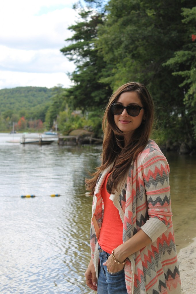 Oversized Open Cardigan with Orange Chevron stripes