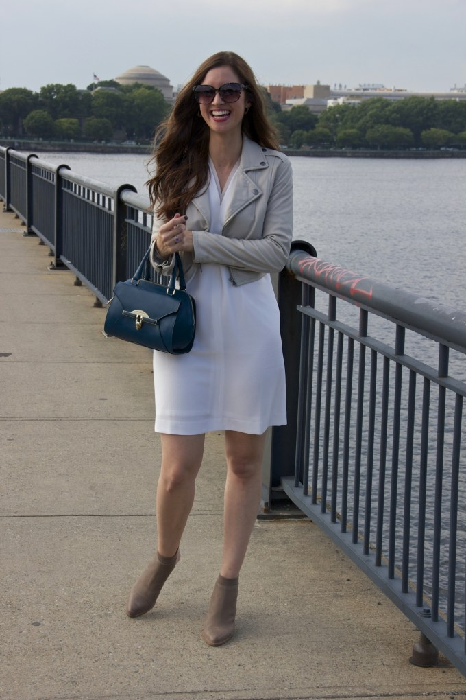 Grey Joie Leather Cropped Jacket over White crepe shift dress