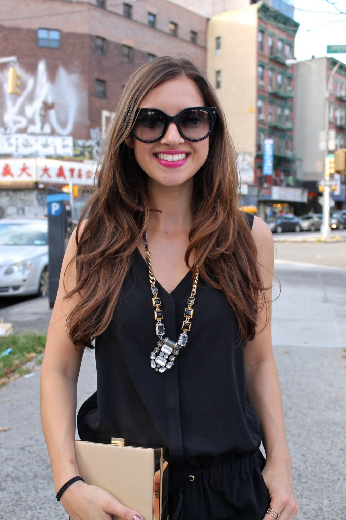 Black Jumpsuit with Gold Accessories