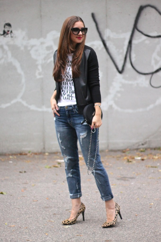 Leather Cardigan, Graphic Tee & Ripped Boyfriend Jeans