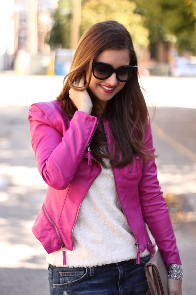 Pink Leather Jacket and ripped boyfriend jeans