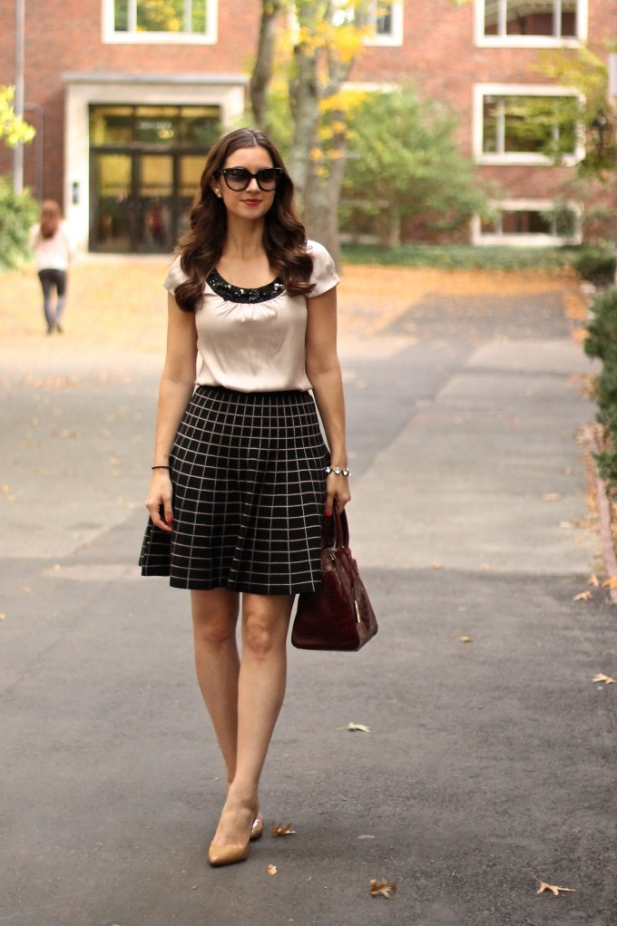 Windowpane Skirt in black and taupe