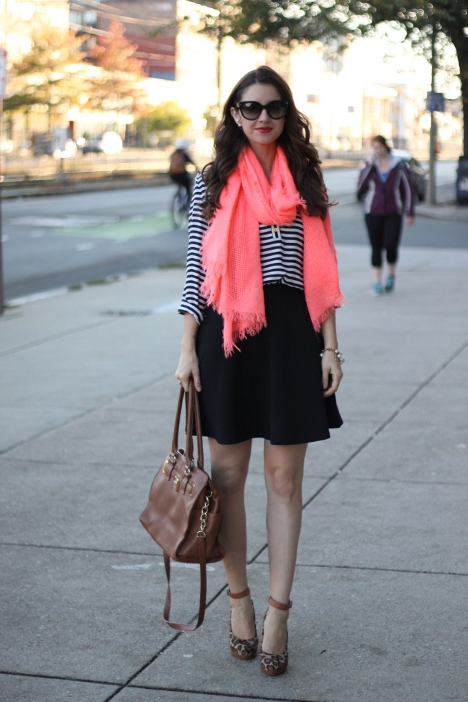 Black & White Stripes with Orange Accessories- Halloween Look