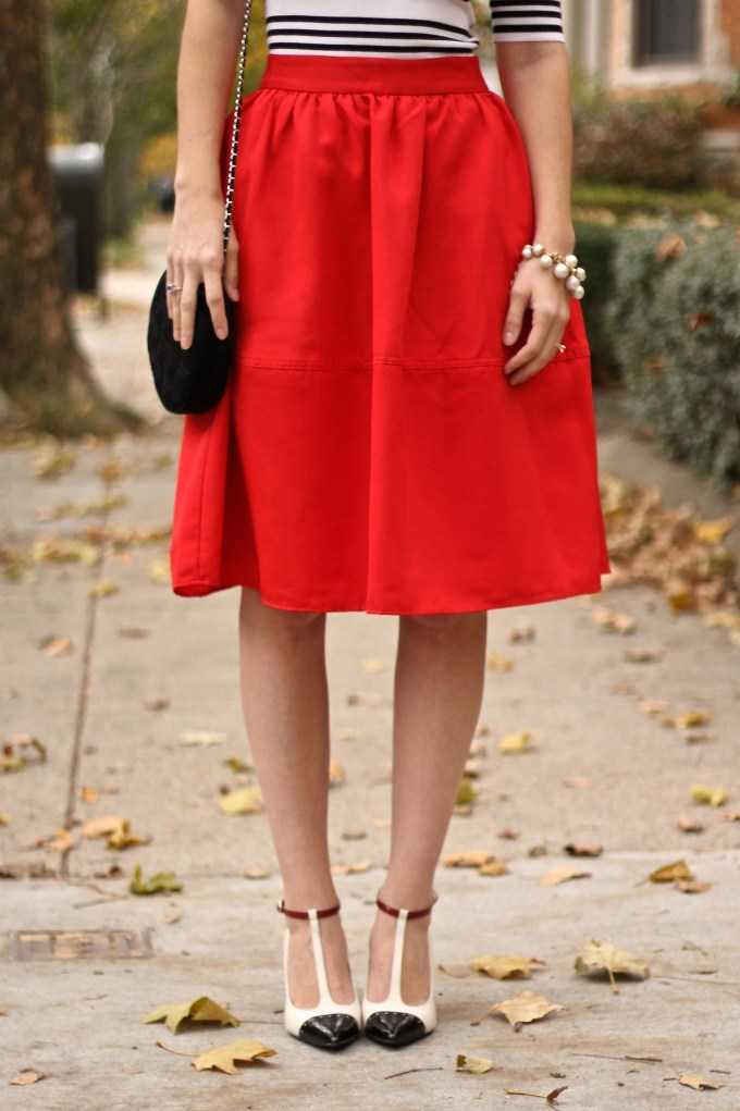 Bright Red Full Midi Skirt with Black and White Striped Top